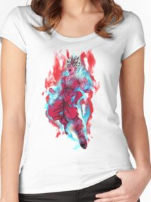 Goku God Blue Kaioken x10 Women's Fitted Scoop T-Shirt