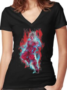 Goku God Blue Kaioken x10 Women's Fitted V-Neck T-Shirt