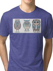 THREE FANCY OWLS Tri-blend T-Shirt