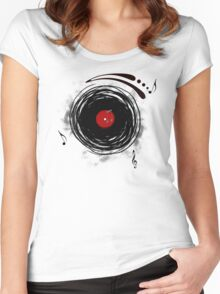 Vinyl Records Retro Grunge Women's Fitted Scoop T-Shirt