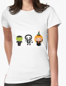 Happy Kids in Halloween Costumes Womens Fitted T-Shirt