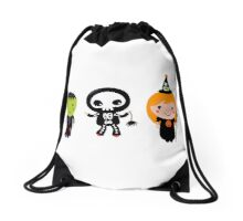 Happy Kids in Halloween Costumes Drawstring Bag