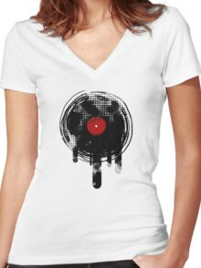 Melting Vinyl Records Vintage Women's Fitted V-Neck T-Shirt