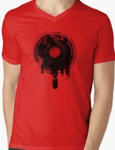 Melting Vinyl Records Vintage Mens V-Neck T-Shirt