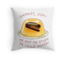 stapler in jello Throw Pillow