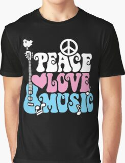Peace, Love, Music Graphic T-Shirt