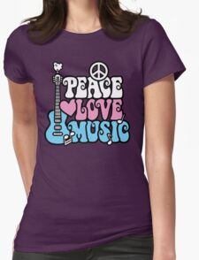 Peace, Love, Music Womens Fitted T-Shirt