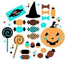 Halloween Trick or Treat Candies Photographic Print