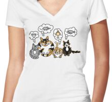 What Cats Think About Women's Fitted V-Neck T-Shirt