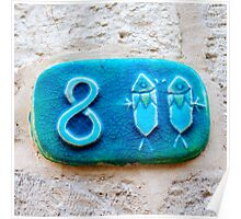 Ceramic Pisces Zodiac street sign number eight  Poster