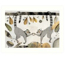 Lemurs In Love Art Print