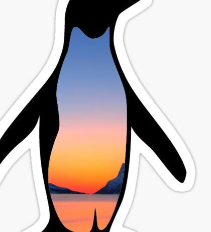 Sunset Penguin Sticker