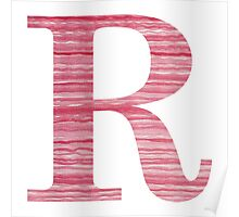 Letter R Red Watercolor Stripes Initial Monogram Poster