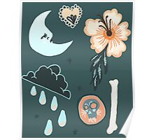 Dark Rain, A Hibiscus and The Moon Poster