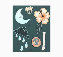 Dark Rain, A Hibiscus and The Moon Men's Baseball ¾ T-Shirt