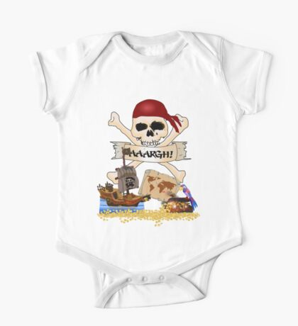 Pirate Icons - Jolly Roger, Treasure Chest, Pirate Ship One Piece - Short Sleeve