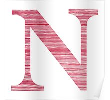 Letter N Red Watercolor Stripes Initial Monogram  Poster