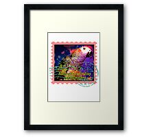 AFRICAN GREY PSYCHEDELIC POSTAGE STAMP Framed Print