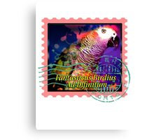 AFRICAN GREY PSYCHEDELIC POSTAGE STAMP Canvas Print