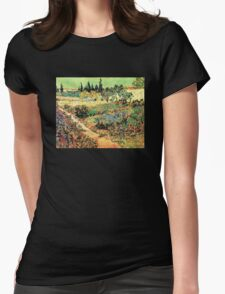 'Flowering Garden With Path' by Vincent Van Gogh (Reproduction) Womens Fitted T-Shirt