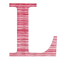 Letter L Red Watercolor Stripes Initial Monogram Photographic Print