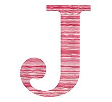 Letter J Red Watercolor Stripes Initial Monogram Photographic Print