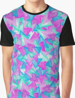 Purple Blue Teal Hand Painted Watercolor Triangles Graphic T-Shirt