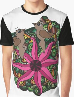 Two birds with exotic flower Graphic T-Shirt