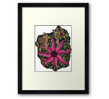 Two birds with exotic flower Framed Print