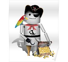 Robo-x9 Pirate with Treasure Chest Poster