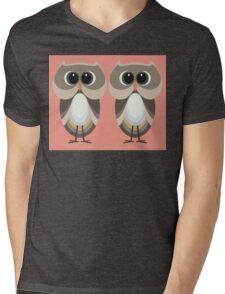 OWLISH OWL TWINS Mens V-Neck T-Shirt