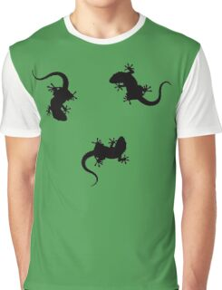 3 Lizards Geckos Art Design Graphic T-Shirt