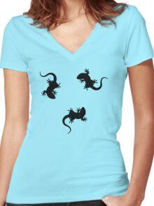 3 Lizards Geckos Art Design Women's Fitted V-Neck T-Shirt
