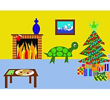 Green Turtle is Ready for Christmas Photographic Print