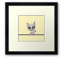 Cute Pink and Gray Watercolor Kitty Cat on Yellow Framed Print
