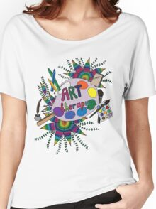 Bright picture with pencils, paints, notebook and pen for creative people. Women's Relaxed Fit T-Shirt