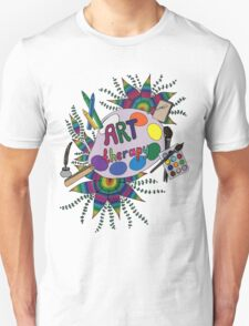 Bright picture with pencils, paints, notebook and pen for creative people. Unisex T-Shirt