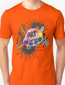 Bright picture with pencils, paints, notebook and pen for creative people. T-Shirt