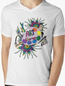Bright picture with pencils, paints, notebook and pen for creative people. Mens V-Neck T-Shirt