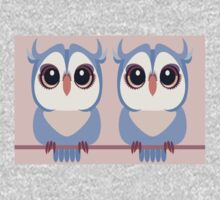TWIN BLUE OWLETS One Piece - Short Sleeve