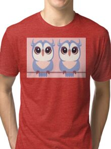 TWIN BLUE OWLETS Tri-blend T-Shirt