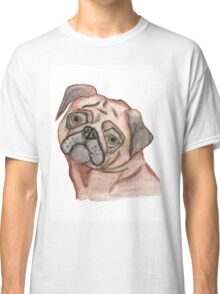 Cute Hand Painted Black Brown Watercolor Pug Dog Classic T-Shirt