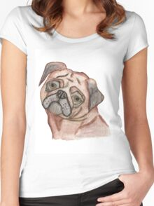Cute Hand Painted Black Brown Watercolor Pug Dog Women's Fitted Scoop T-Shirt
