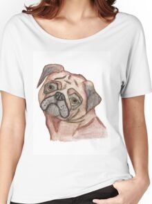 Cute Hand Painted Black Brown Watercolor Pug Dog Women's Relaxed Fit T-Shirt