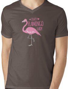 Crazy Flamingo lady Mens V-Neck T-Shirt