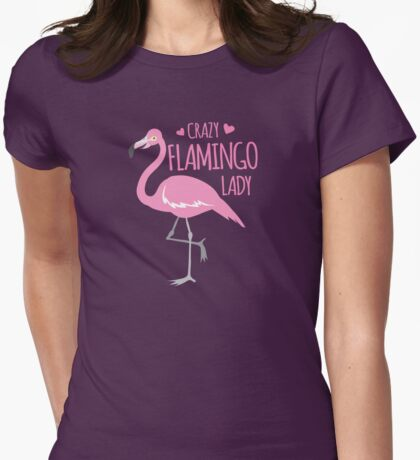 Crazy Flamingo lady Womens Fitted T-Shirt
