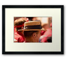 Hat Series - Man Wearing a Straw Hat with a Large Brown Band Framed Print