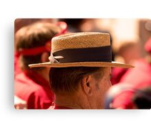 Hat Series - Man Wearing a Straw Hat with a Large Brown Band Canvas Print