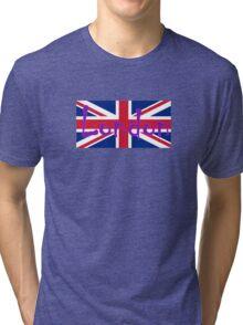 London Flag UK Union Jack Flag Hot Pink Punk Sticker Tee Tri-blend T-Shirt