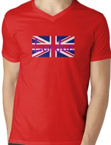 London Flag UK Union Jack Flag Hot Pink Punk Sticker Tee Mens V-Neck T-Shirt